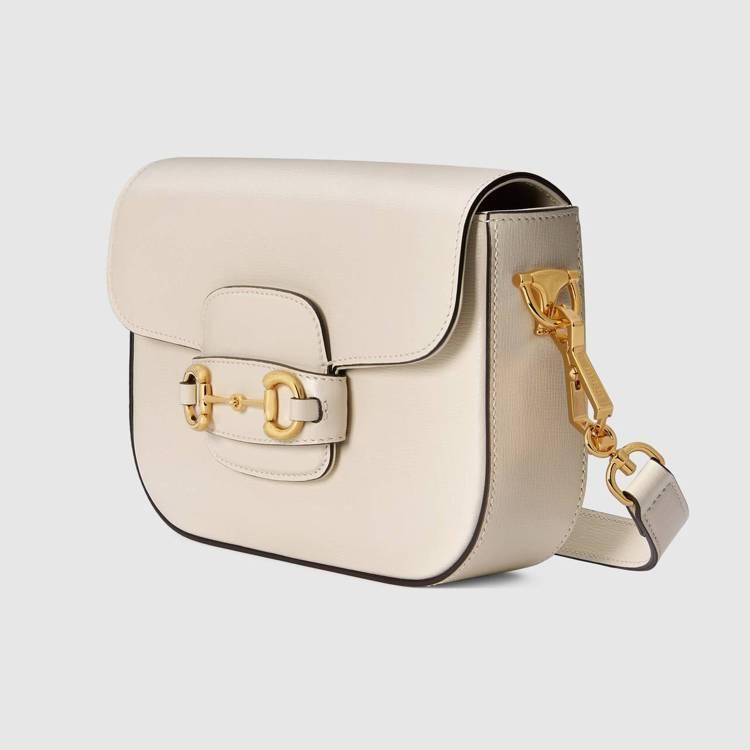 Gucci Horsebit 1955 mini白色皮革肩背包,92,400元。...