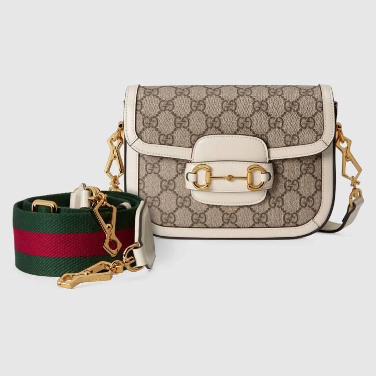 Gucci Horsebit 1955 mini帆布拼接白色皮革肩背包,80,1...