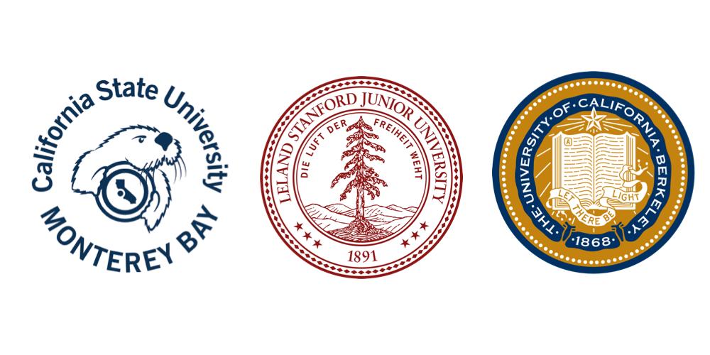 圖為蒙特瑞灣加州州立大學、史丹佛大學、柏克萊加州大學三校校徽。 尚億/提供