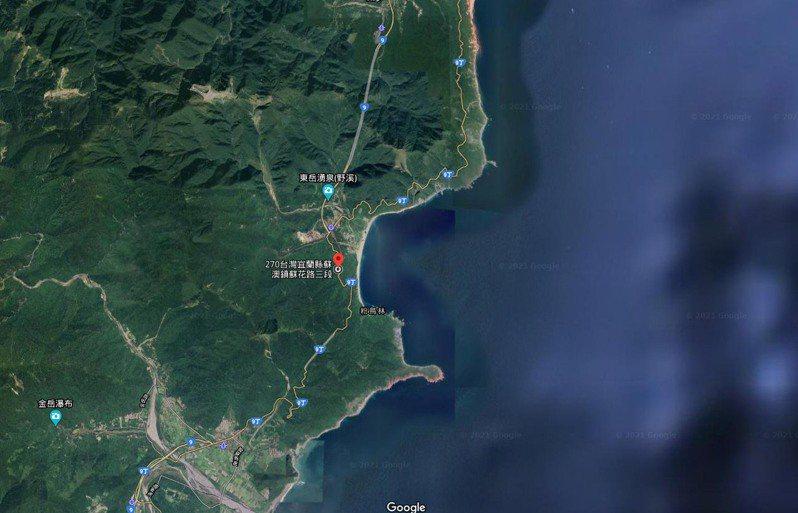 圖中紅圖釘為事發地點蘇花公路台9線115公里處。 圖/翻攝自google map