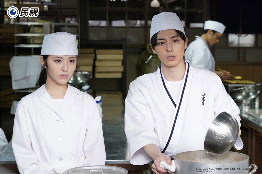 濱邊美波(左)、橫濱流星主演「我們的愛情不正常」,以和菓子老舖「光月庵」為故事舞...