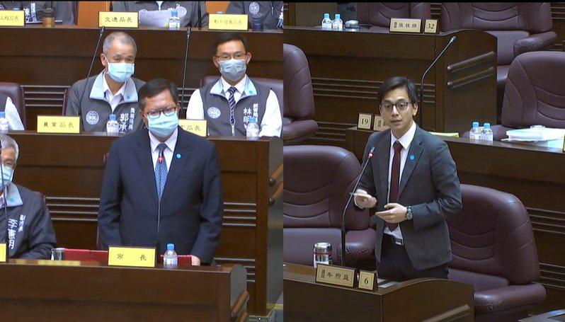 桃園市長鄭文燦(左)今接受市議員牛煦庭質詢。圖/截自桃園市議會官網直播