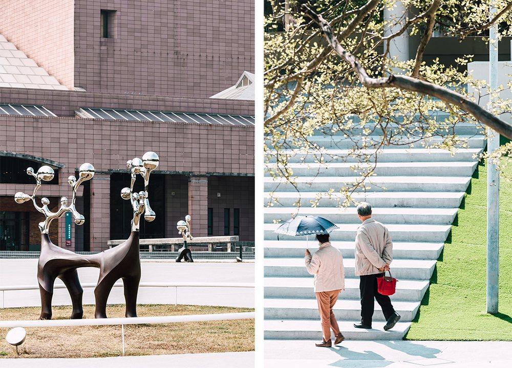 漫步館前廣場、戶外園區,會發現40多件雕塑、公共藝術作品。  圖/陳建豪 攝影