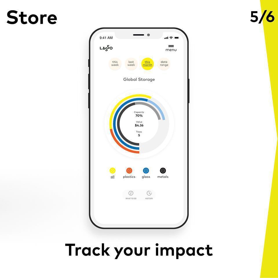 Lasso也推出專用App,不僅能記錄回收進度,也能預約專人清走回收物。 圖/L...