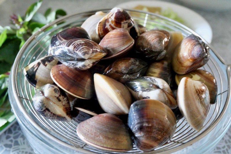 吐沙好的蛤蠣,需要瀝乾水分再炒,確保蛤蠣乾淨。