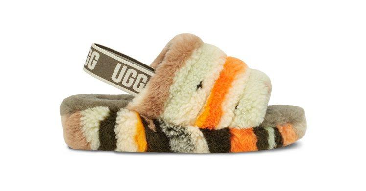 印象加州系列FLUFF YEAH迷彩毛絨繃帶涼鞋,4,800元。圖/UGG提供