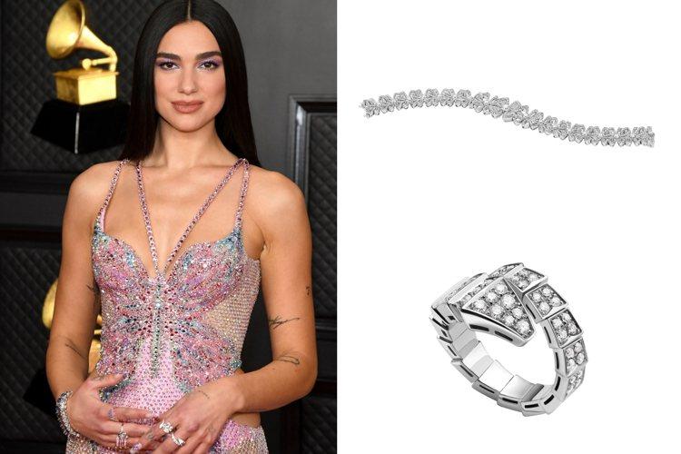 杜娃黎波配戴寶格麗珠寶出席葛萊美頒獎典禮。圖/寶格麗提供