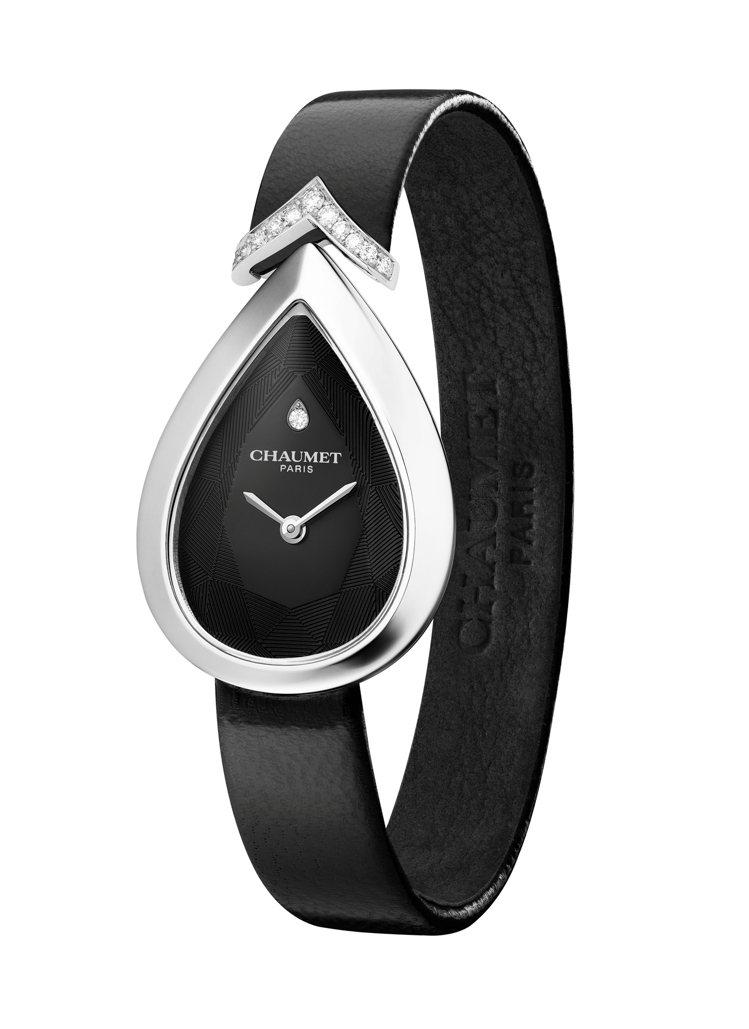 Joséphine Aigrette 18K白金腕表,標誌性的梨形表殼、雕花表...