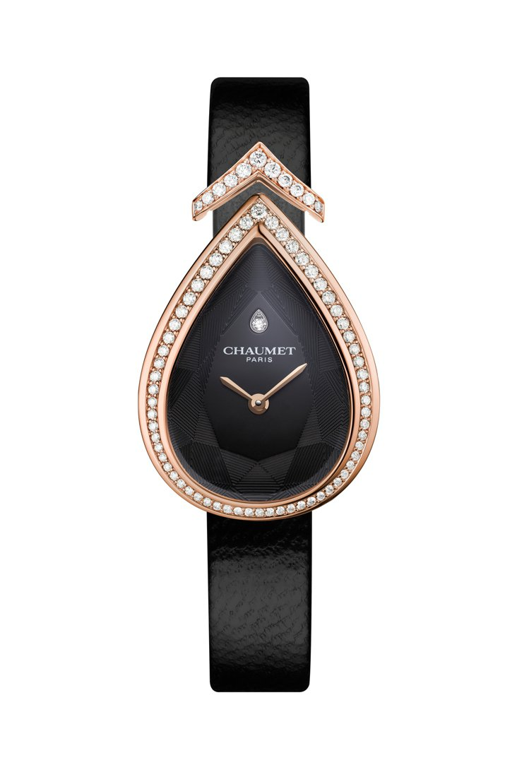 Joséphine Aigrette 18K玫瑰金鑲鑽腕表,標誌性的梨形表圈鑲...