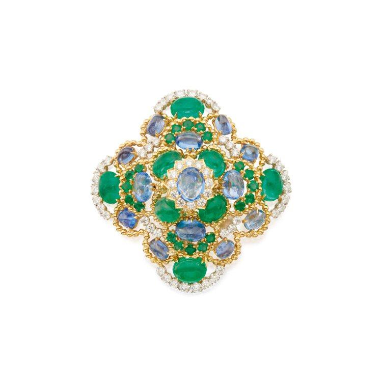 Sapphire, Emerald and Diamond Clip-Brooc...
