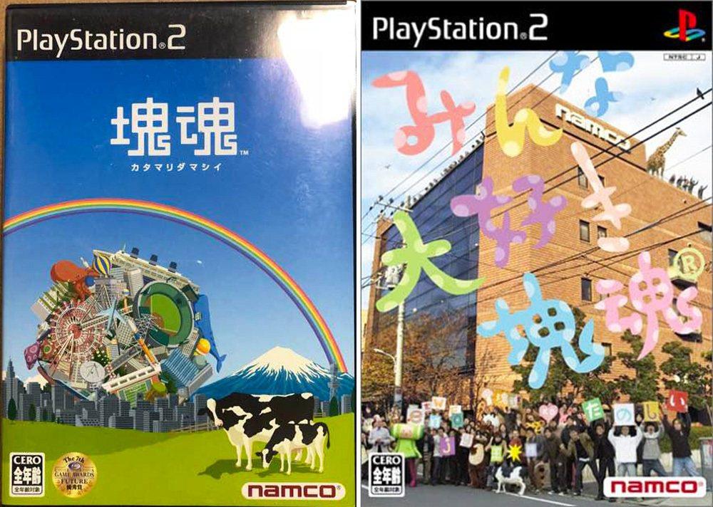 在PS2主機上推出的兩款塊魂遊戲作品之封面圖,左為一代,右邊為2005年推出的續...