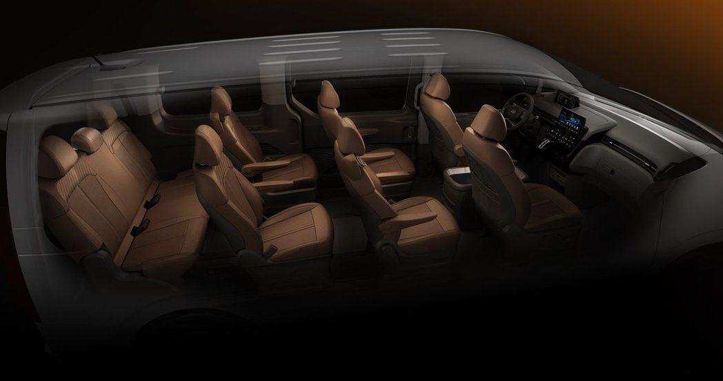 九人座的Hyundai Staria Lounge。 摘自Hyundai