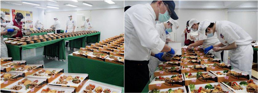 稻商餐飲科第14屆畢業師生製作美味又豐富的便當。 校方/提供
