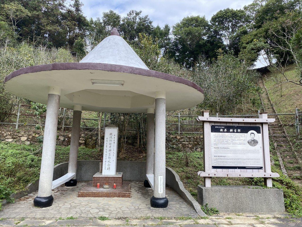 新井耕吉郎引進紅茶,為台灣紅茶產業奠定基礎,他病逝後,茶改場和農民為他設立紀念碑...