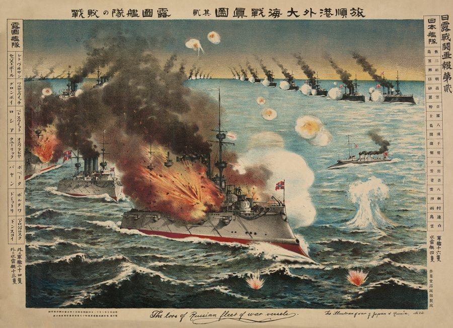 描述日俄戰爭旅順口海戰的版畫。 圖/維基共享