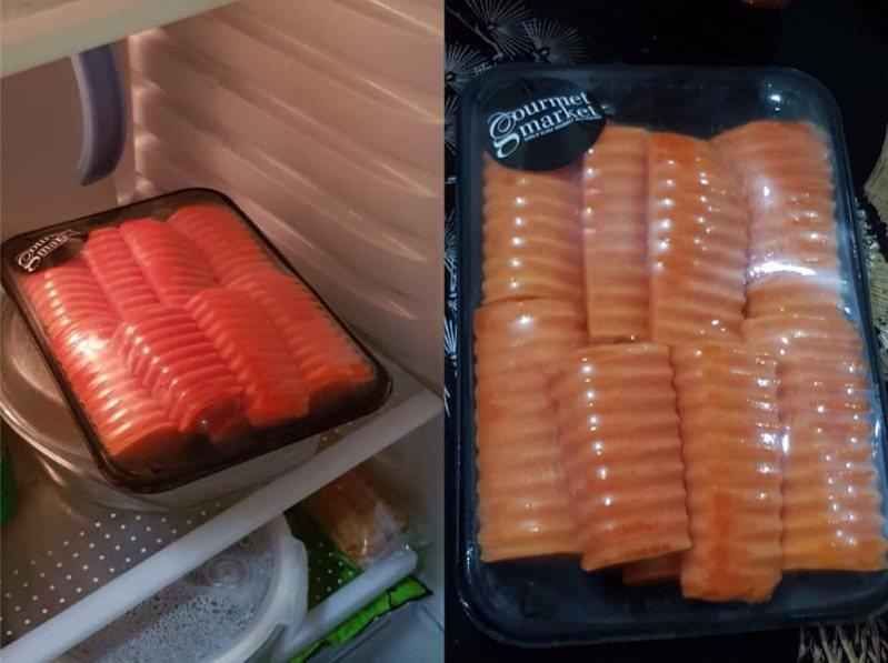 網友誤以為紅蘿蔔是鮭魚片。圖擷自facebook