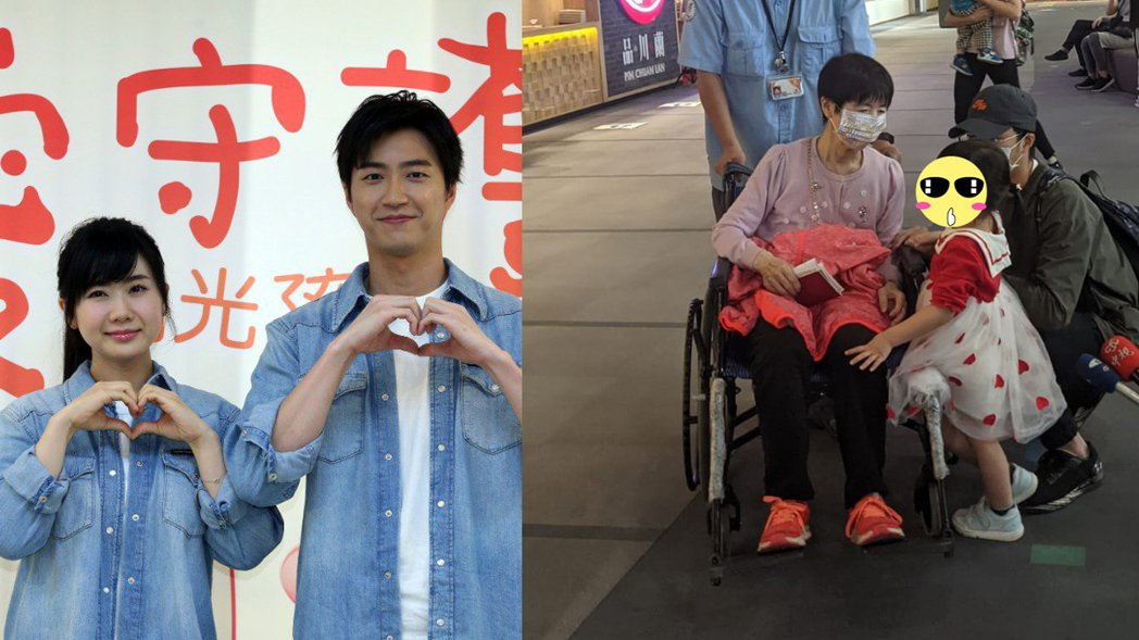 福原愛的媽媽福原千代(中)今天坐著輪椅現身松山機場,孫女小小愛與女婿江宏傑陪伴在