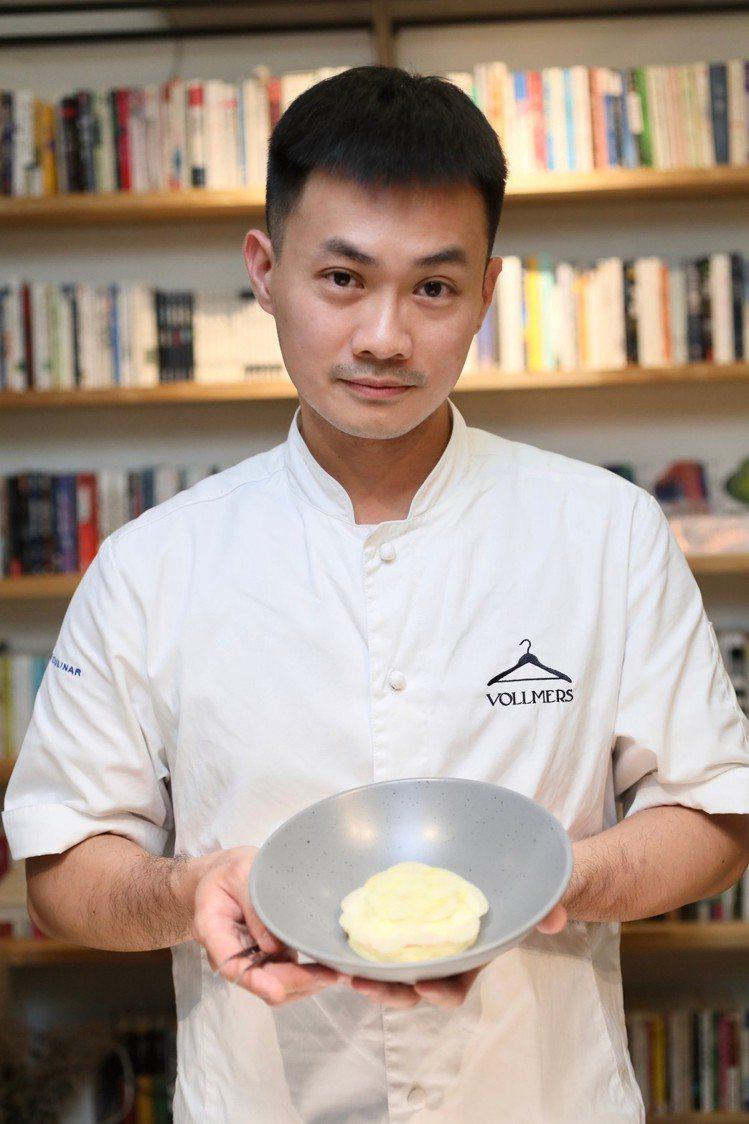 青田藝集特聘主廚黃宥穎。 記者/李政龍攝影。