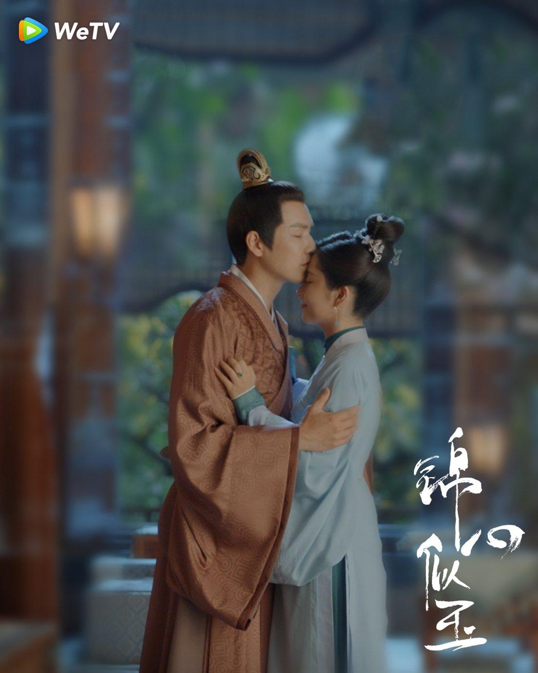 鍾漢良(左)與譚松韻在「錦心似玉」中的親密戲好事多磨。圖/WeTV海外站