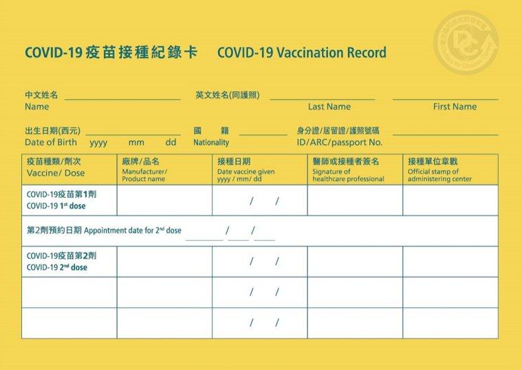 疾管署製作的COVID-19疫苗接種紀錄卡,上面包含接種的疫苗品牌、施打時間、醫...