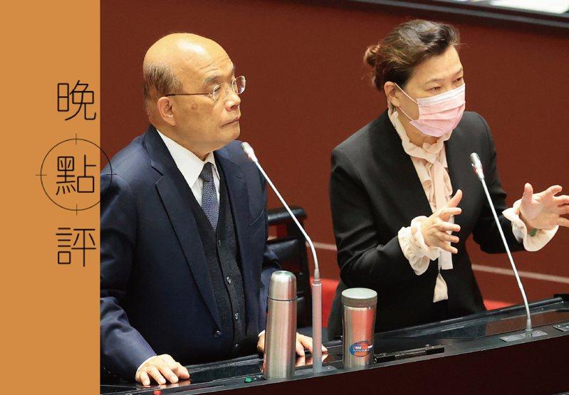 過去民進黨說備用容量率20%太高,但現在經濟部長王美花(右)卻認為台灣15%的備用容量率太低。圖/聯合報系資料照片