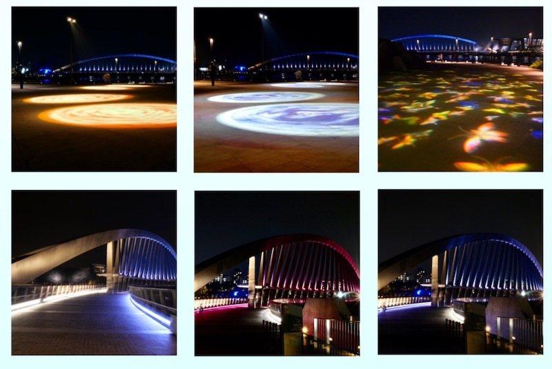 至美橋夜晚與臨水廣場《傍水揮毫》的沙灣戲影,夢幻也浪漫。