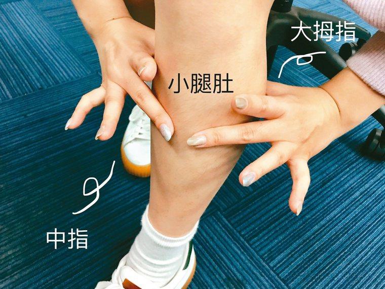 測量腿圍是判斷「肌少症」的指標之一,用雙手即可簡易辨別。記者黃惠群/攝影