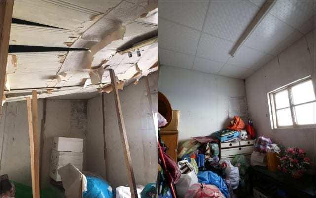 王奶奶家修繕前漏水狀況嚴重,天花板腐壞,只能用木條撐起天花板(左)。弘道老人基金...