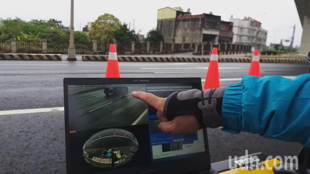 聲音照相科技執法設備針對行進間的車輛進行分貝偵測,並辨識車號後拍照取締。記者陳斯...