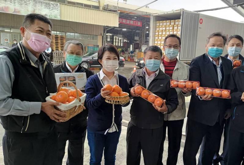 台中市東勢區及石岡區農會今天在東勢果菜市場聯合舉辦「茂谷柑外銷馬來西亞啟運典禮」,市長盧秀燕參加。圖/台中市府提供