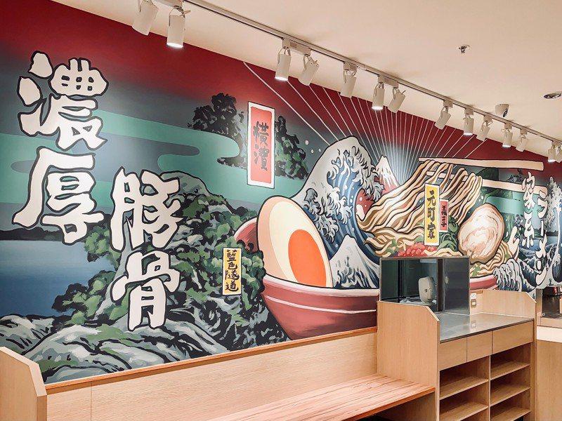 高雄概念店由藍色隧道操刀,打造寬達7公尺的特色壁畫。圖/捷利餐飲提供