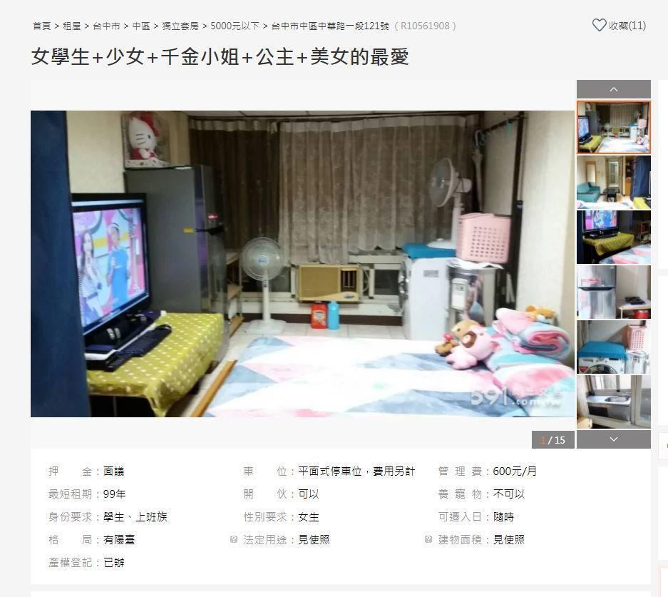 房東刊登的住房照片,自稱是「公主的套房」。圖/截自591租屋網