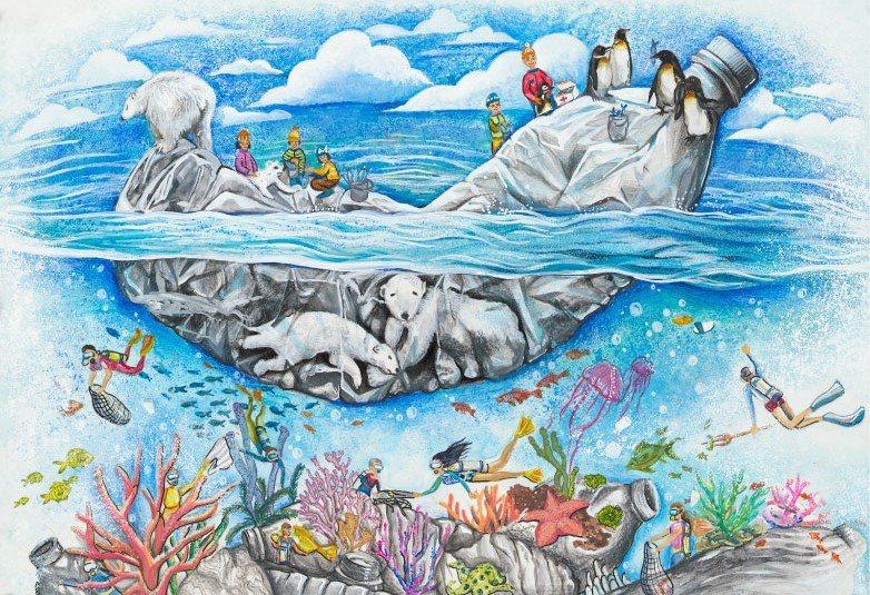 學生作品喚醒大眾愛護海洋。圖為2020得獎作品。(臺北市台北美國學校何奕萱)