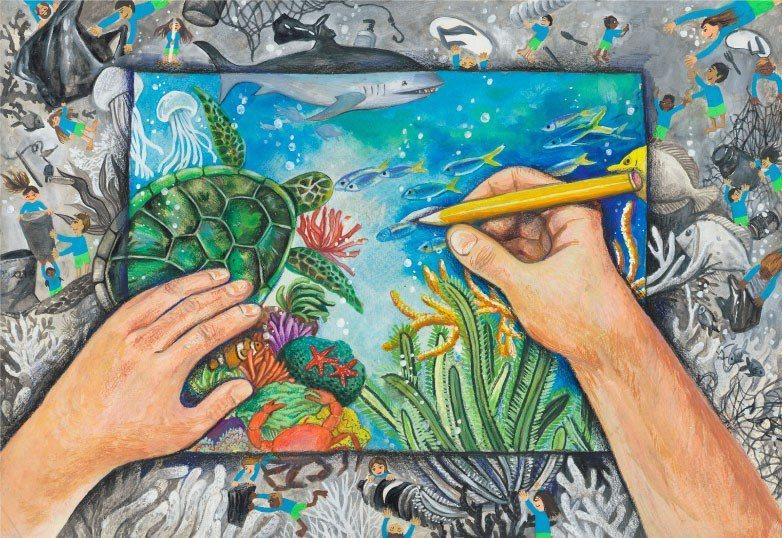學生以繪畫呼籲大眾關注氣候變遷議題,作品發人省思。圖為2020得獎作品。(臺北市...