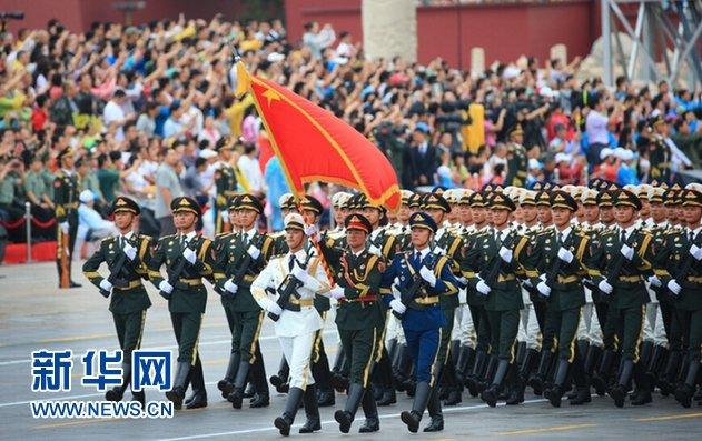 圖為2015年中共九三閱兵演練的共軍儀仗隊。(新華社)