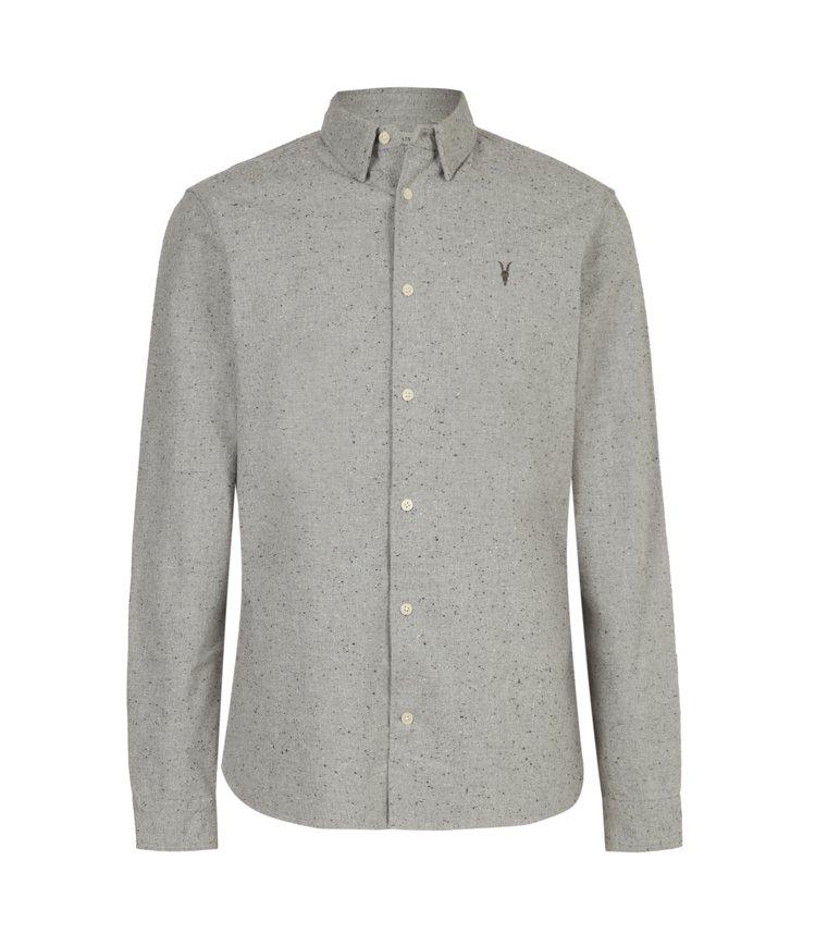 AllSaints Petrel灰色羊頭長袖襯衫5,400元。圖/AllSain...