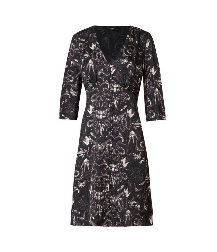 AllSaints Kota印花短洋裝9,000元。圖/AllSaints提供