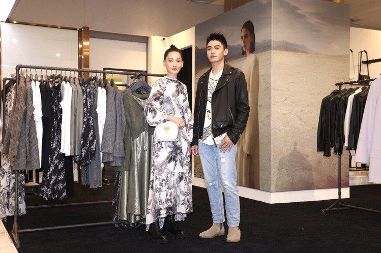 「小美」林映唯(左)和宋柏緯一同出席AllSaints女裝專櫃重新開幕。記者王聰...