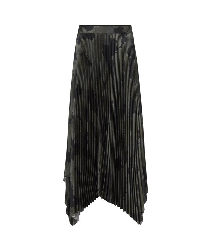 AllSaints Lerin墨綠色迷彩印花百褶裙8,400元。圖/AllSai...
