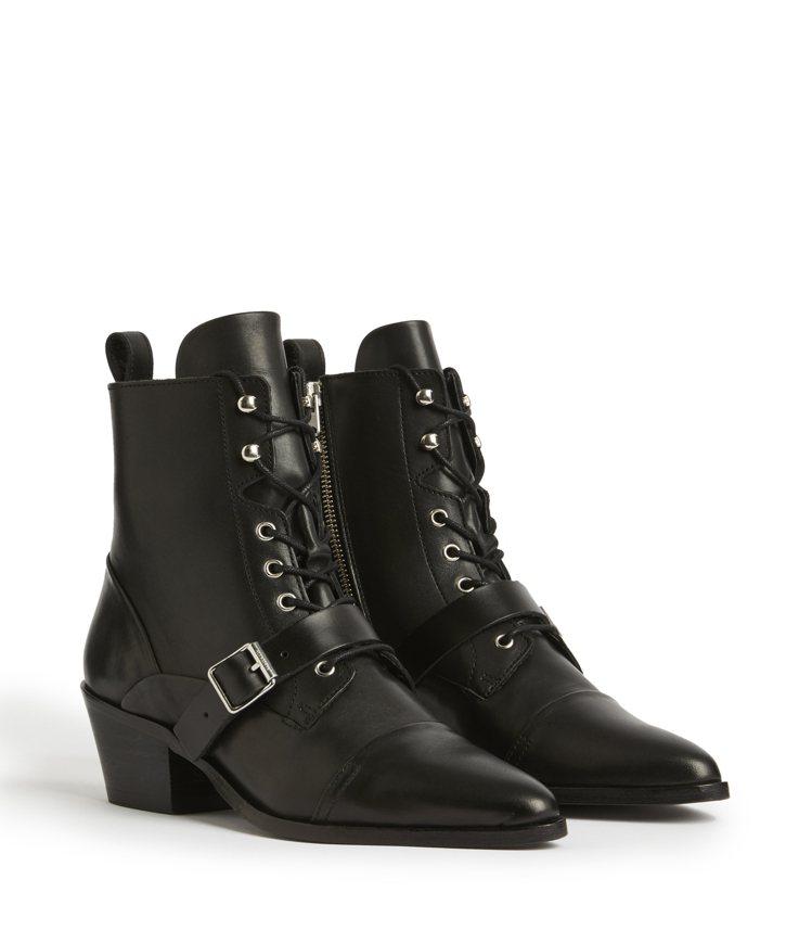 AllSaints Katy黑色釦帶跟靴11,800元。圖/AllSaints提...
