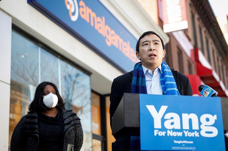 台裔美籍企業家楊安澤(右)立志成為紐約首位亞裔市長。路透