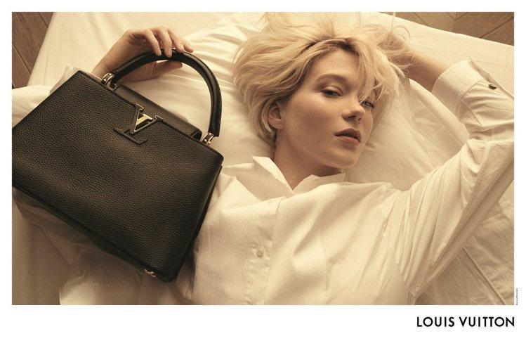 路易威登發表蕾雅瑟杜詮釋黑色Taurillon皮革製作的Capucines手袋形...