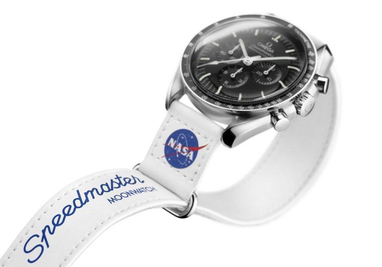 由於和NASA聯名,表帶上同時具備NASA經典的藍色「肉丸」Logo。圖 / O...