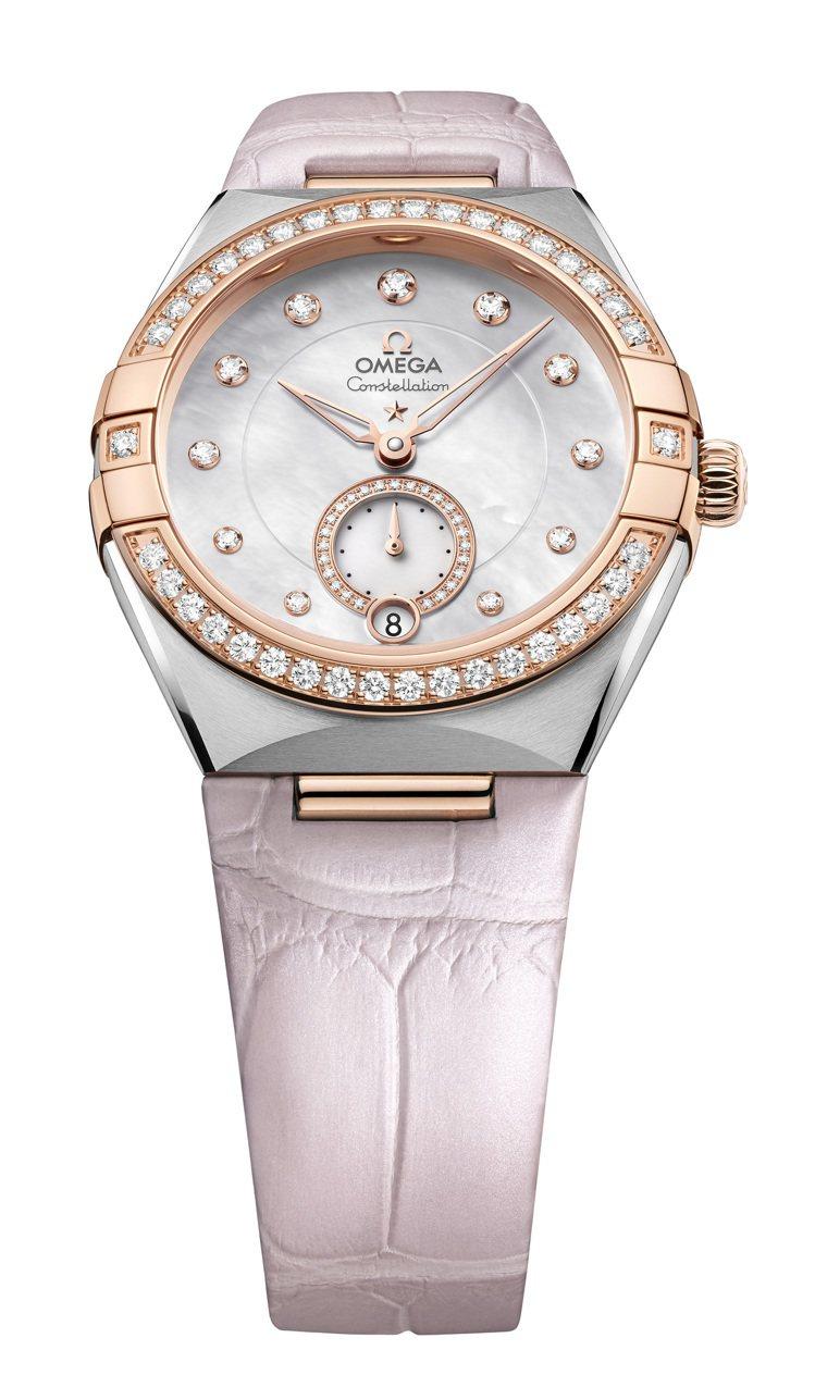 半金、珍珠母貝表面、粉色皮表帶,OMEGA星座小秒針鑲鑽腕表,機芯則使用8803...