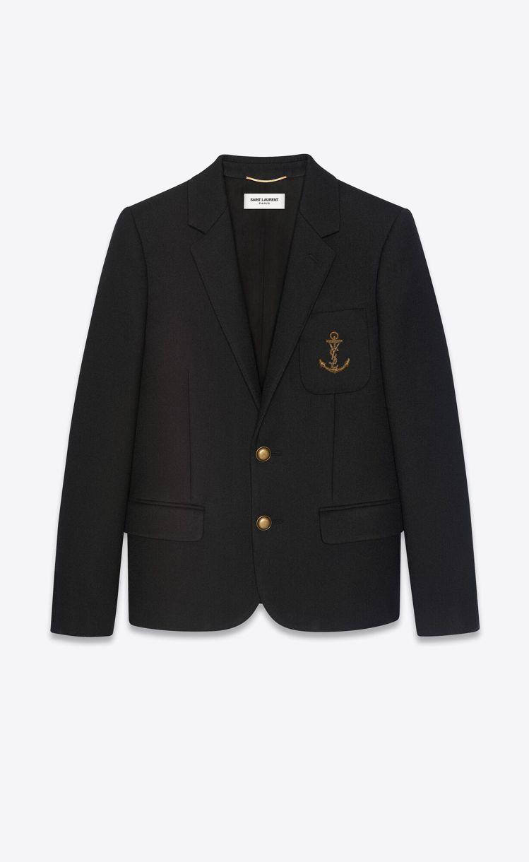 黑色羊毛氈刺繡字母船錨夾克。圖/Saint Laurent提供