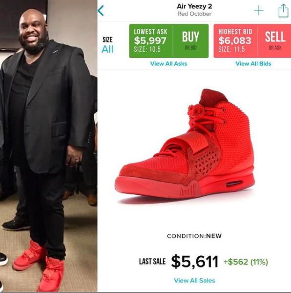 「PreachersNSneakers」頁面中,最為出名便是格雷牧師2019年腳穿極度稀有的「Nike Air Yeezy 2 Red Octobers」的照片,當時這雙鞋在轉售市場上要價5611美元(約新台幣16萬)。圖/Instagram/@PreachersNSneakers
