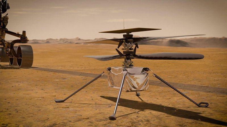 美國國家航空暨太空總署(NASA)迷你直升機「創新號」(Ingenuity)今天成功完成火星上第3趟旅程,這回飛得更遠、更快。 圖/法新社