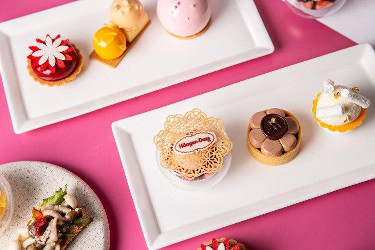 台北萬豪酒店攜手哈根達斯,推出「沁漾冰甜」聯名下午茶。圖/台北萬豪酒店提供