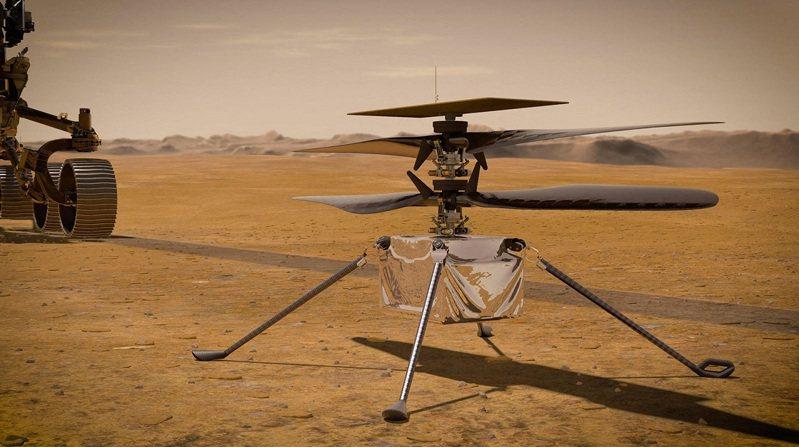 火星直升機機智號脫離探測車並完全展開的示意圖。兩者完全分離需要6個火星日(地球的6天再加4小時)。法新社
