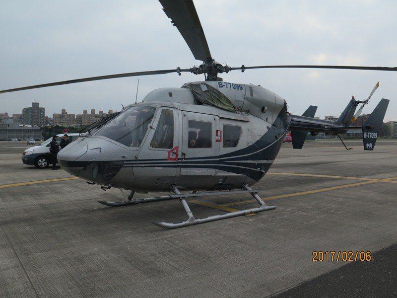 中興航空名下被賣出的BK-117B-21型直升機。圖/台北分署提供